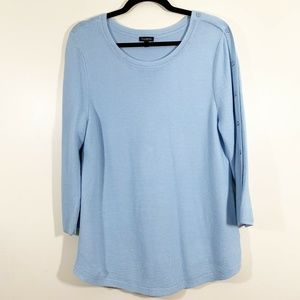 Talbots Blue Button Detail Wide Sleeve Pullover L